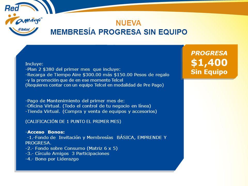 PROGRESA $1,400 Sin Equipo Incluye: -Plan 2 $380 del primer mes que incluye: -Recarga de Tiempo Aire $300.00 más $150.00 Pesos de regalo -y la promoci