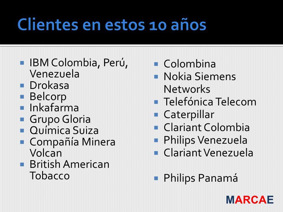 IBM Colombia, Perú, Venezuela Drokasa Belcorp Inkafarma Grupo Gloria Química Suiza Compañía Minera Volcan British American Tobacco Colombina Nokia Sie