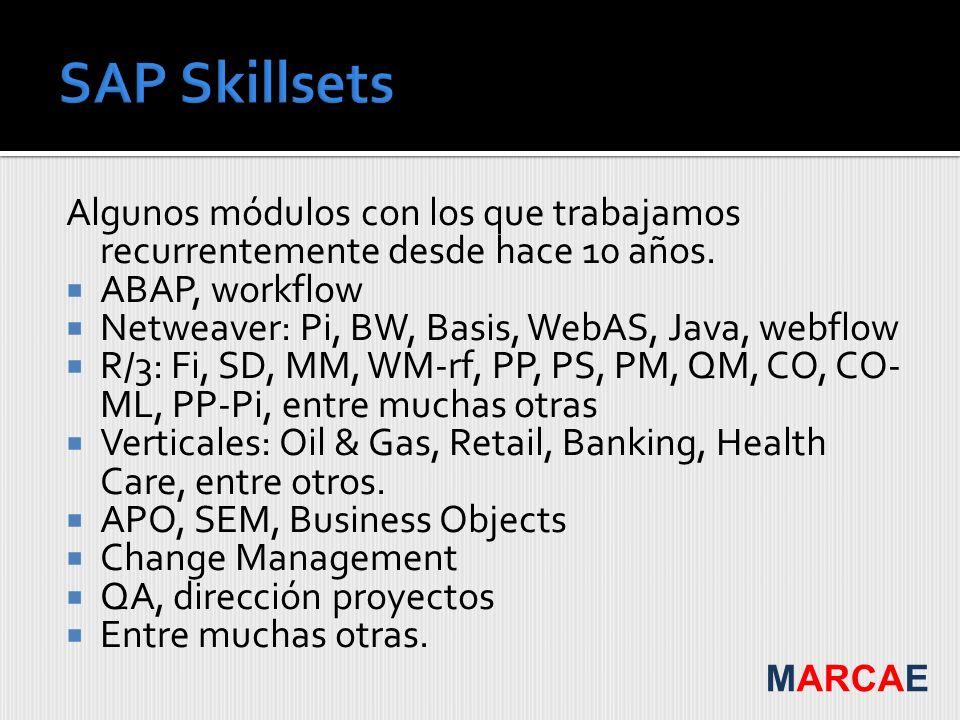 Algunos módulos con los que trabajamos recurrentemente desde hace 10 años. ABAP, workflow Netweaver: Pi, BW, Basis, WebAS, Java, webflow R/3: Fi, SD,