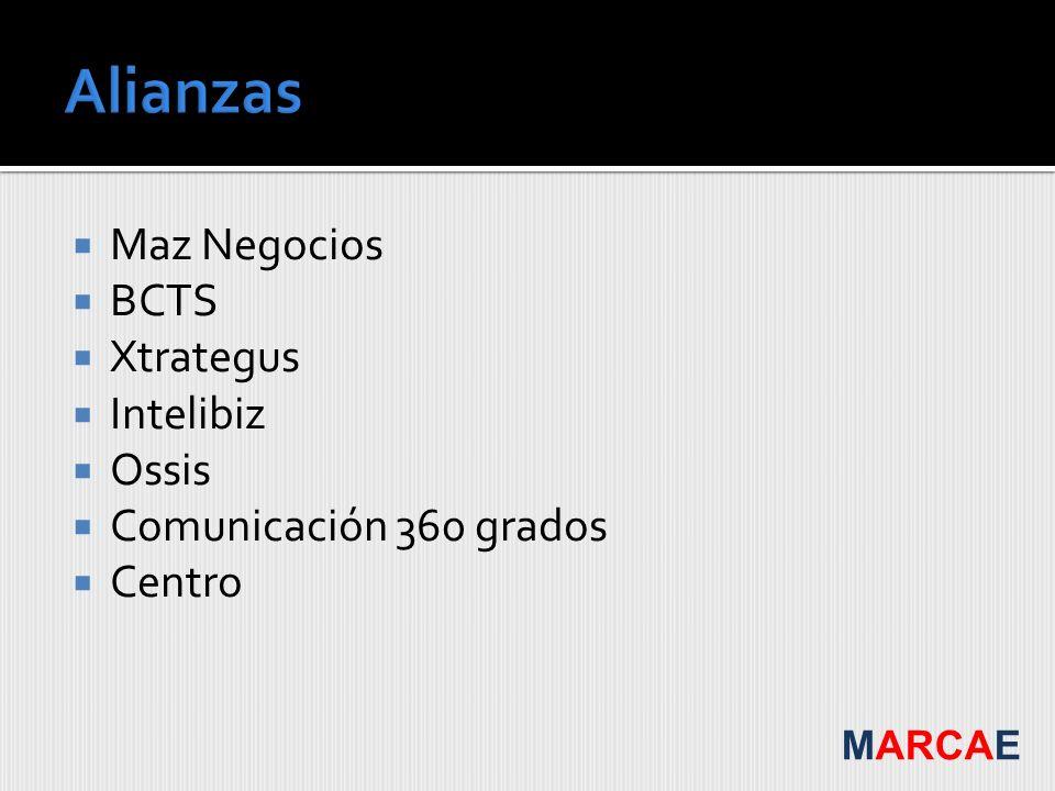 Maz Negocios BCTS Xtrategus Intelibiz Ossis Comunicación 360 grados Centro MARCAE