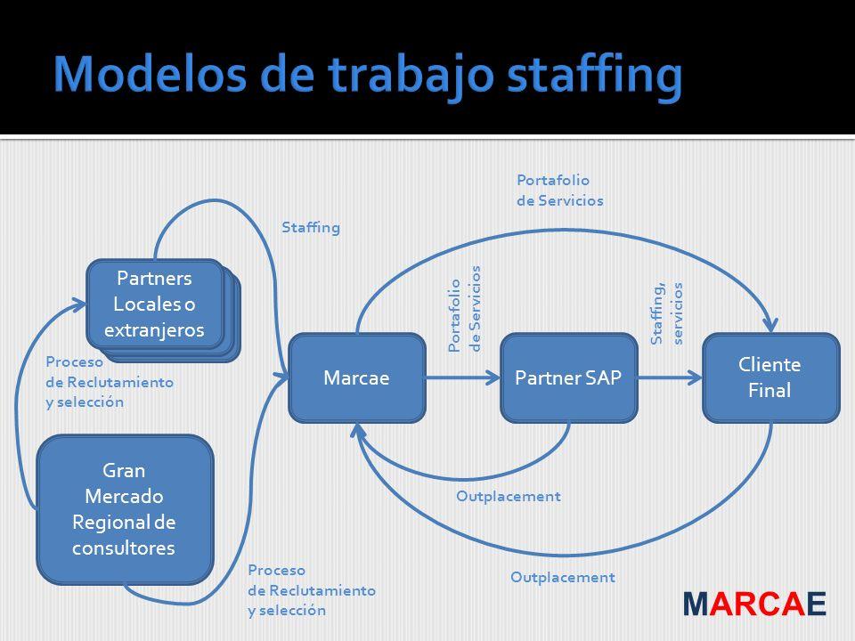 Gran Mercado Regional de consultores Cliente Final Marcae Partners Locales o extranjeros Partner SAP Portafolio de Servicios Proceso de Reclutamiento