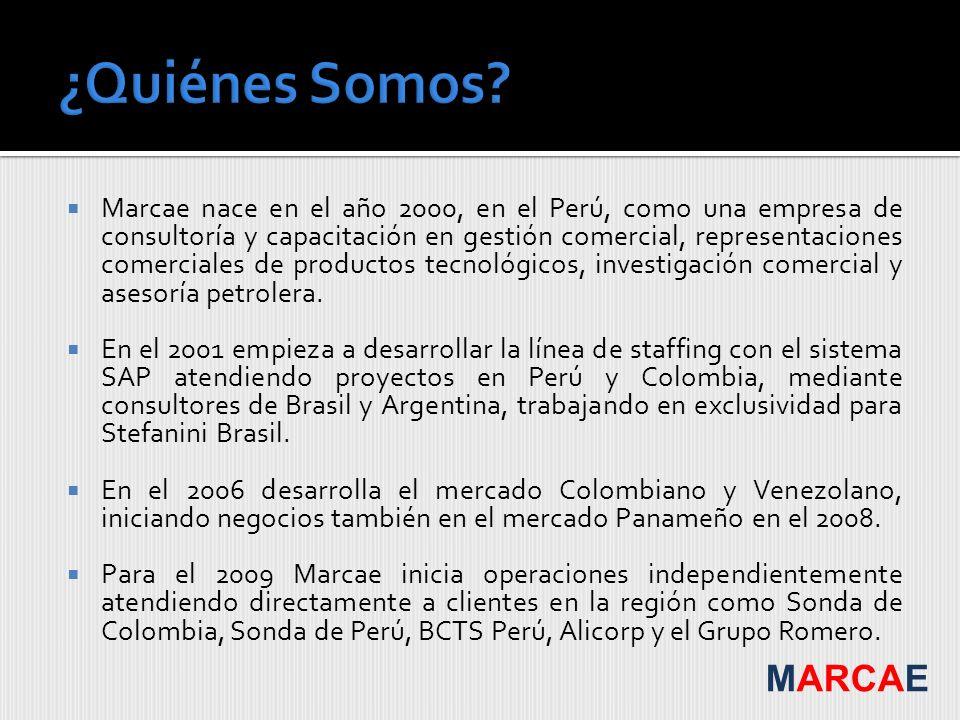 Marcae nace en el año 2000, en el Perú, como una empresa de consultoría y capacitación en gestión comercial, representaciones comerciales de productos