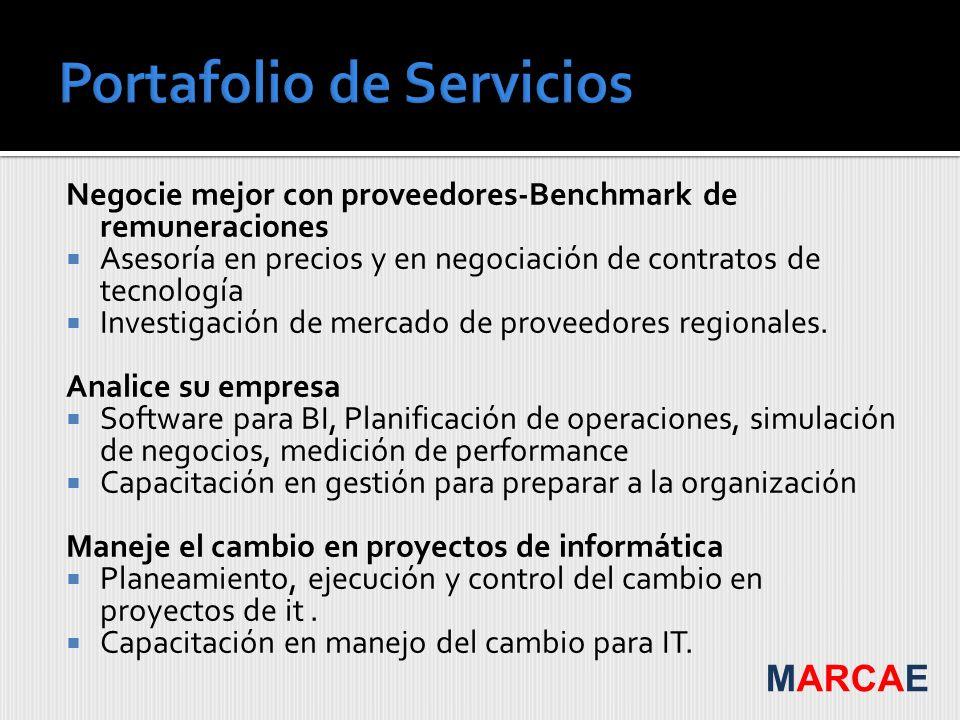 Negocie mejor con proveedores-Benchmark de remuneraciones Asesoría en precios y en negociación de contratos de tecnología Investigación de mercado de