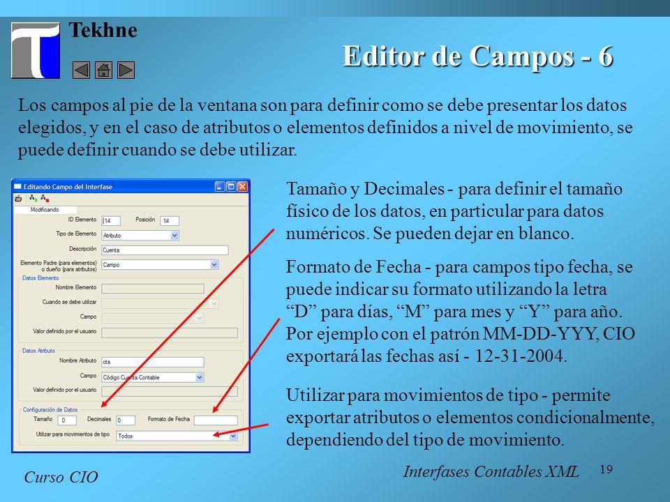 19 Tekhne Curso CIO Editor de Campos - 6 Los campos al pie de la ventana son para definir como se debe presentar los datos elegidos, y en el caso de a