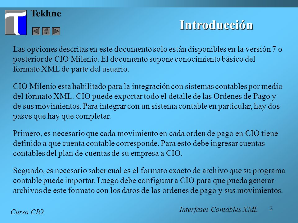 23 Tekhne Curso CIO Documentación de Campos - 2 Interfases Contables XML