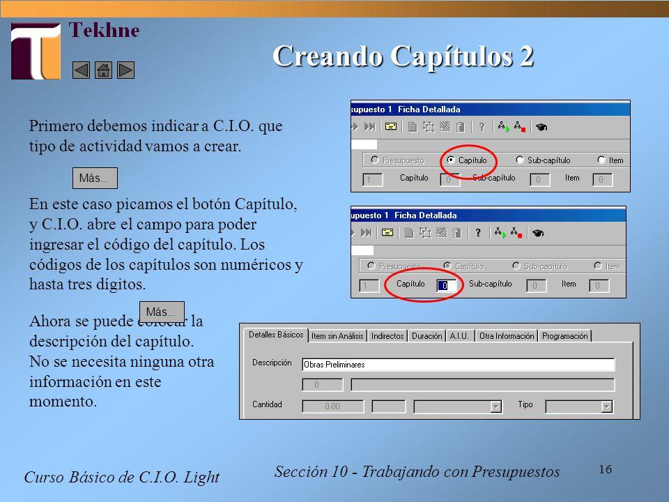 16 Curso Básico de C.I.O. Light Sección 10 - Trabajando con Presupuestos Primero debemos indicar a C.I.O. que tipo de actividad vamos a crear. En este