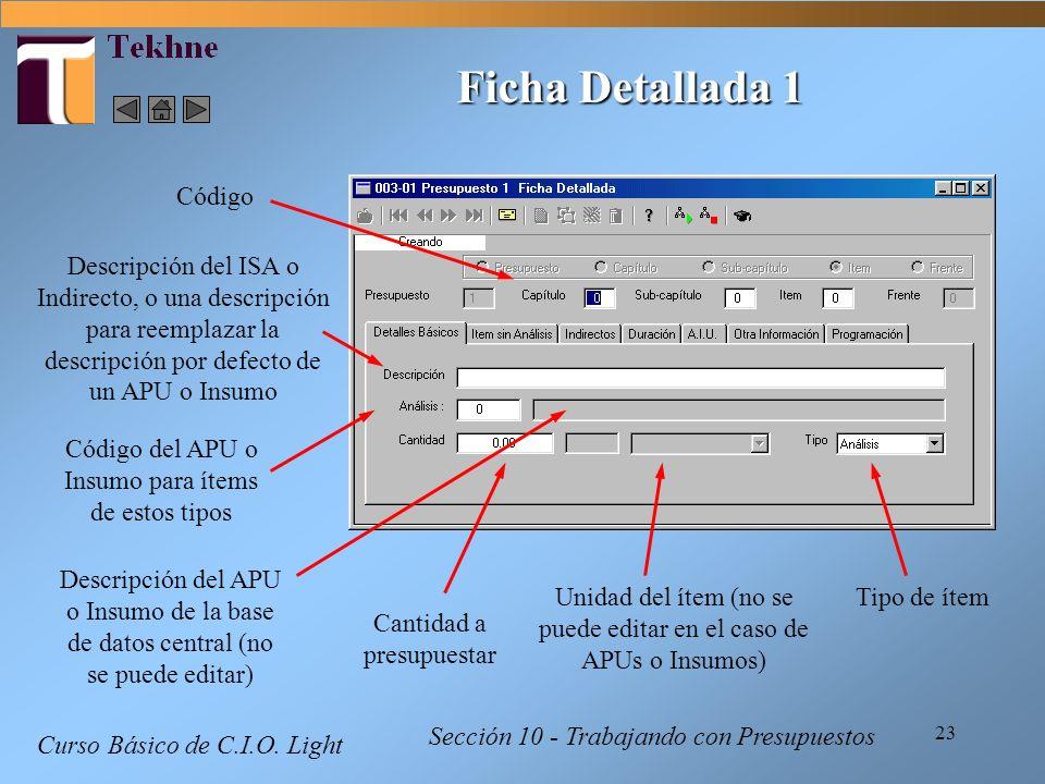 23 Curso Básico de C.I.O. Light Sección 10 - Trabajando con Presupuestos Ficha Detallada 1 Código Cantidad a presupuestar Unidad del ítem (no se puede