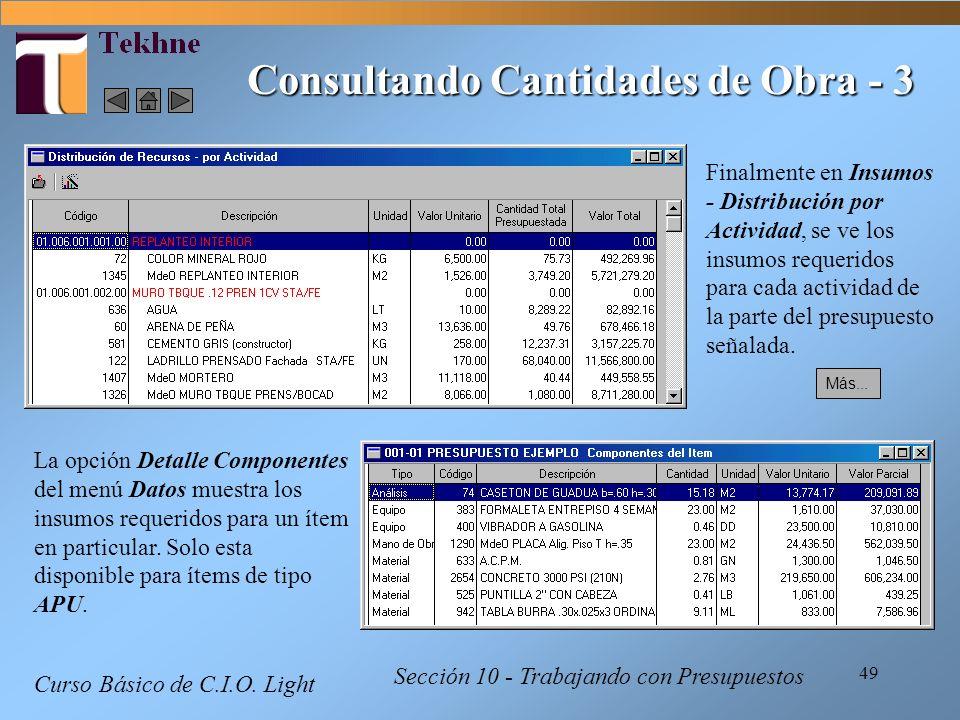 49 Curso Básico de C.I.O. Light Sección 10 - Trabajando con Presupuestos Consultando Cantidades de Obra - 3 La opción Detalle Componentes del menú Dat