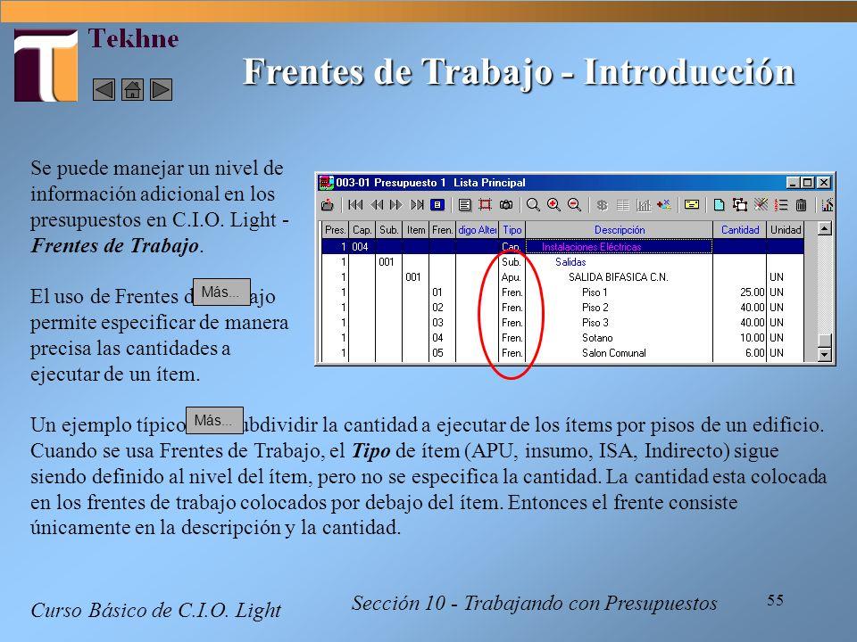 55 Curso Básico de C.I.O. Light Sección 10 - Trabajando con Presupuestos Frentes de Trabajo - Introducción Se puede manejar un nivel de información ad