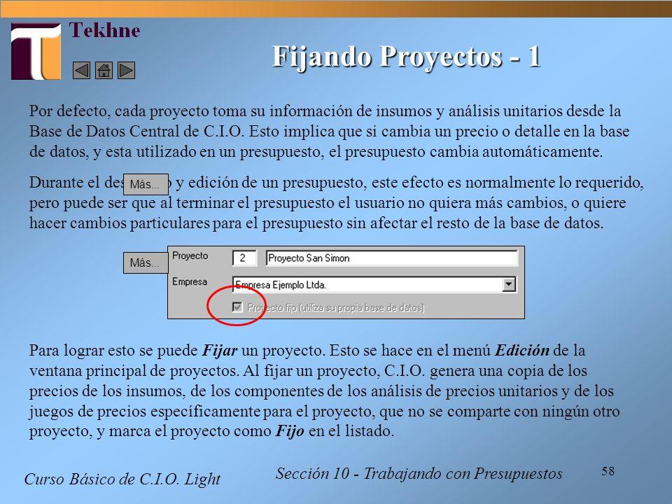 58 Curso Básico de C.I.O. Light Sección 10 - Trabajando con Presupuestos Fijando Proyectos - 1 Por defecto, cada proyecto toma su información de insum