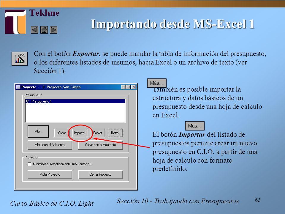 63 Curso Básico de C.I.O. Light Sección 10 - Trabajando con Presupuestos Importando desde MS-Excel 1 Con el botón Exportar, se puede mandar la tabla d