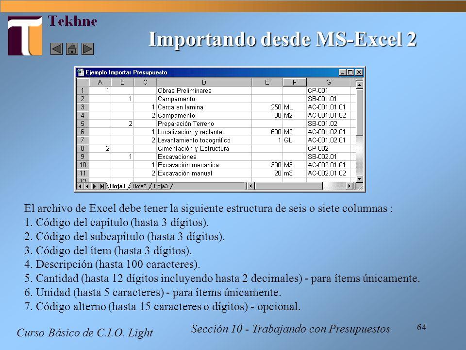 64 Curso Básico de C.I.O. Light Sección 10 - Trabajando con Presupuestos El archivo de Excel debe tener la siguiente estructura de seis o siete column