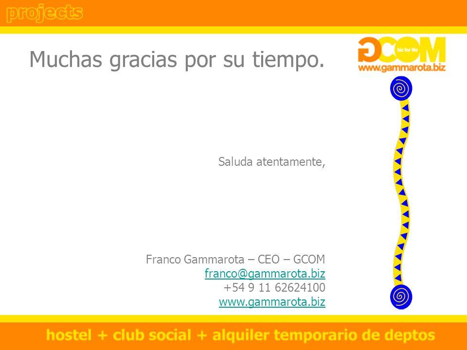 Muchas gracias por su tiempo. Saluda atentamente, Franco Gammarota – CEO – GCOM franco@gammarota.biz +54 9 11 62624100 www.gammarota.biz