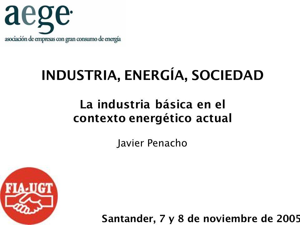 INDUSTRIA, ENERGÍA, SOCIEDAD La industria básica en el contexto energético actual Javier Penacho Santander, 7 y 8 de noviembre de 2005
