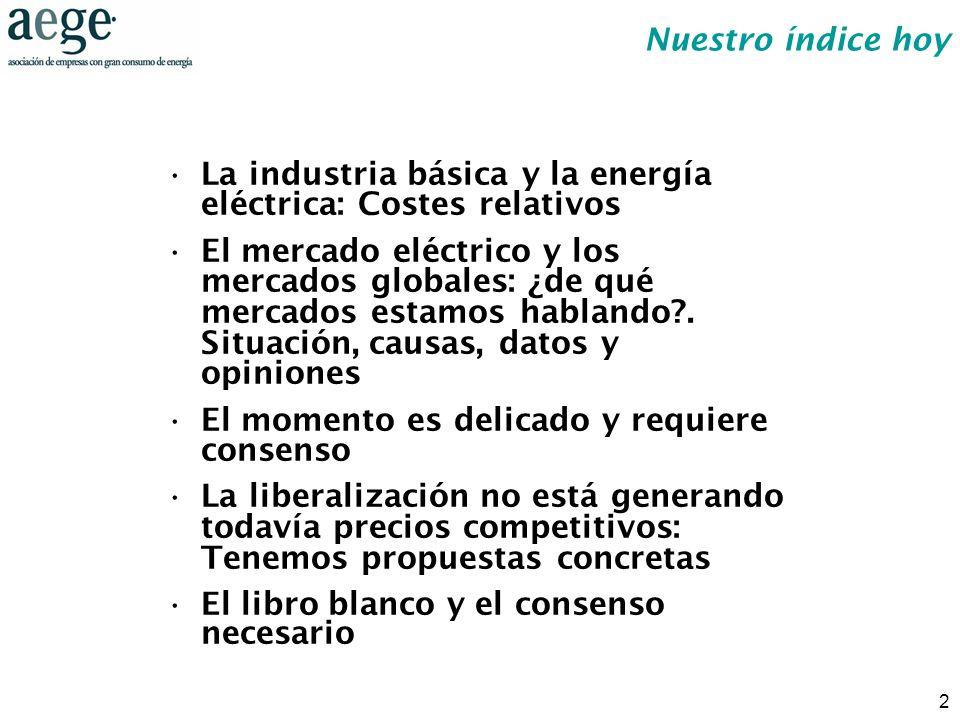 2 La industria básica y la energía eléctrica: Costes relativos El mercado eléctrico y los mercados globales: ¿de qué mercados estamos hablando?. Situa