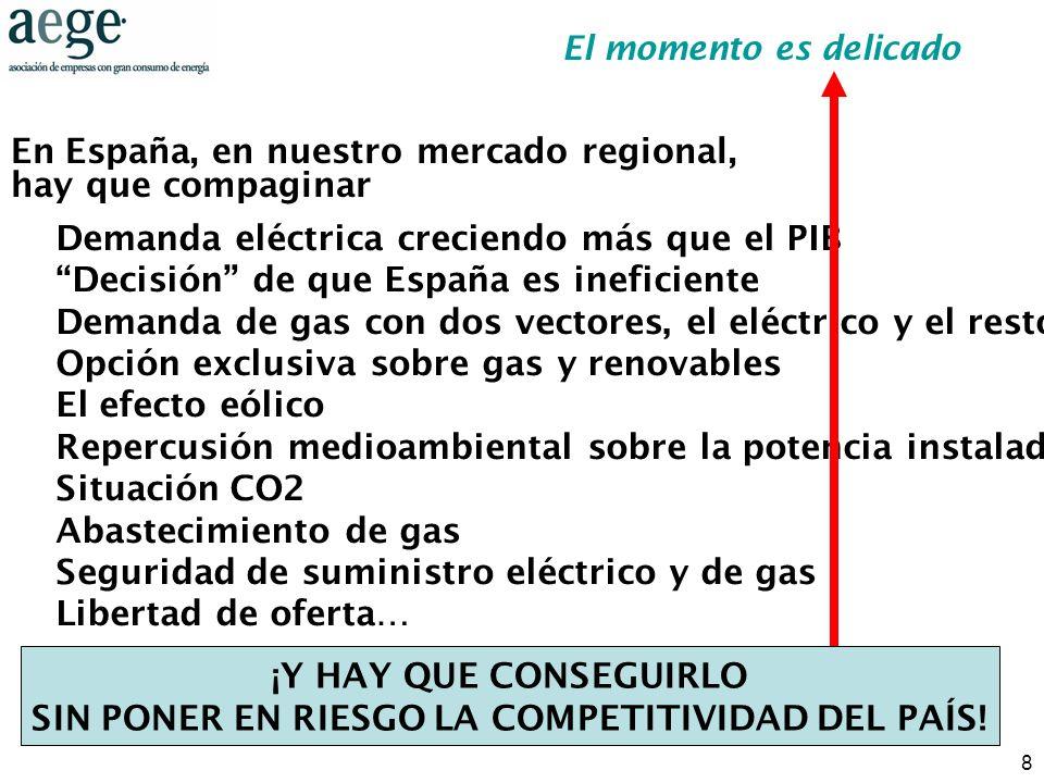 8 Demanda eléctrica creciendo más que el PIB Decisión de que España es ineficiente Demanda de gas con dos vectores, el eléctrico y el resto Opción exc