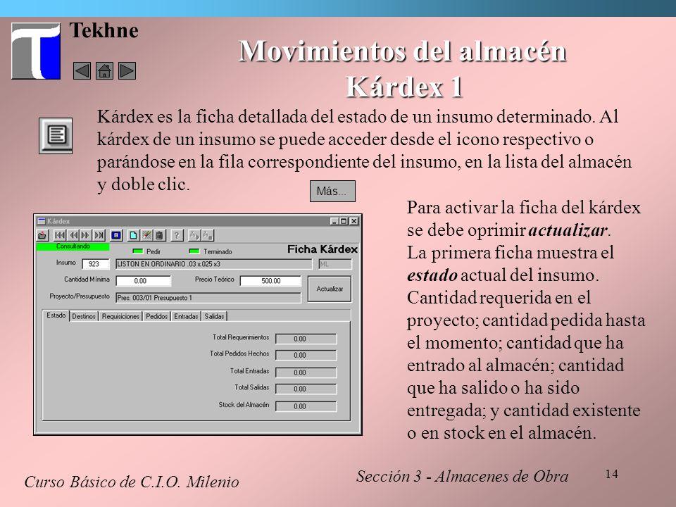 14 Kárdex es la ficha detallada del estado de un insumo determinado. Al kárdex de un insumo se puede acceder desde el icono respectivo o parándose en