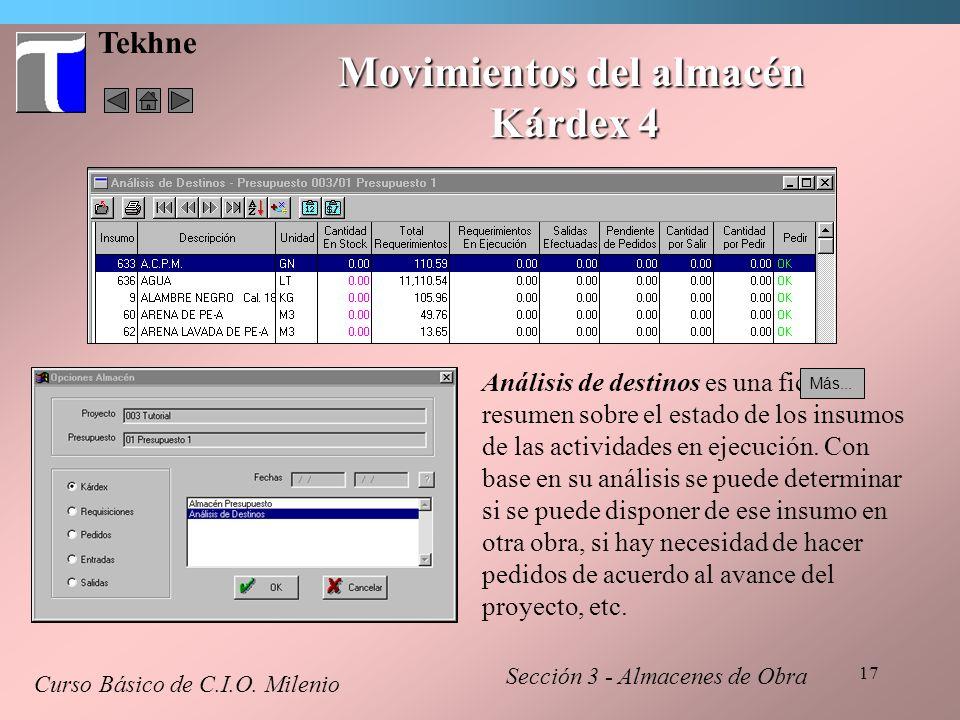 17 Tekhne Movimientos del almacén Kárdex 4 Curso Básico de C.I.O. Milenio Sección 3 - Almacenes de Obra Análisis de destinos es una ficha resumen sobr