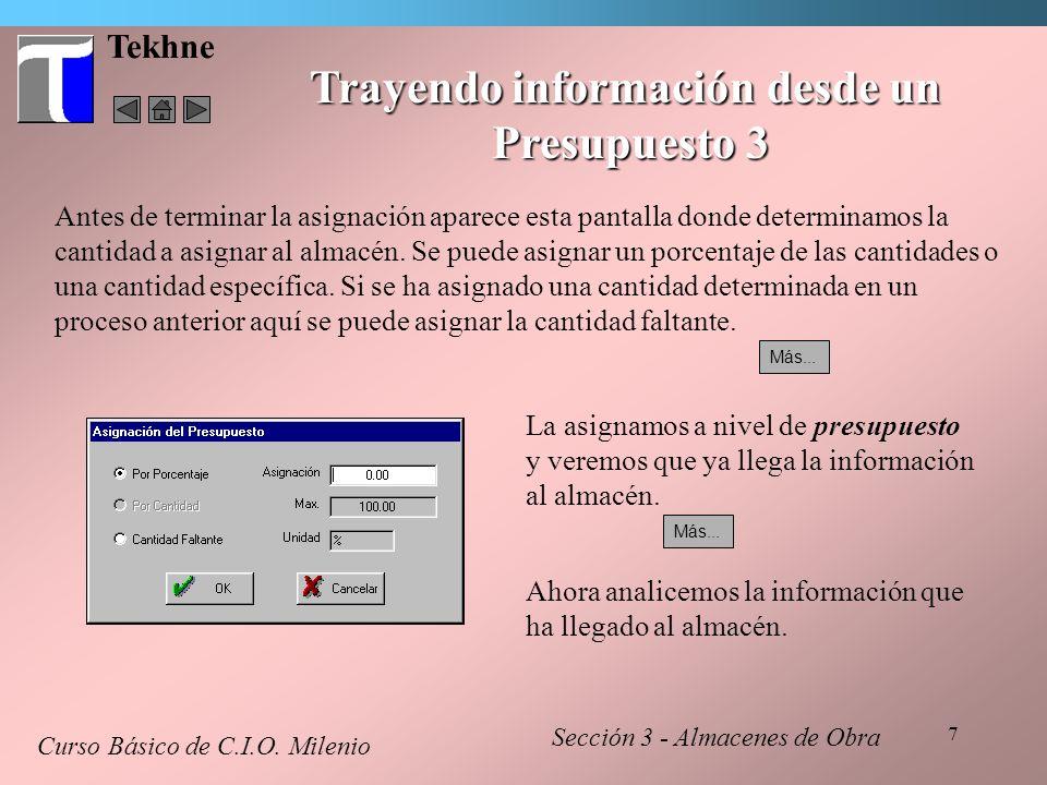 8 Tekhne Trayendo información desde un Presupuesto 4 Curso Básico de C.I.O.