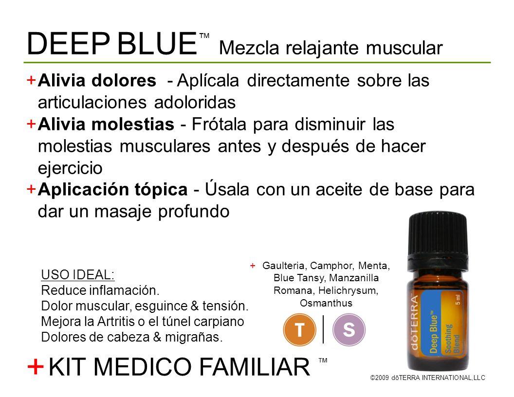 DEEP BLUE Mezcla relajante muscular ©2009 dōTERRA INTERNATIONAL,LLC Alivia dolores - Aplícala directamente sobre las articulaciones adoloridas Alivia