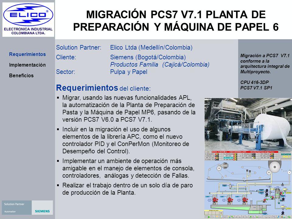 MIGRACIÓN PCS7 V7.1 PLANTA DE PREPARACIÓN Y MÁQUINA DE PAPEL 6 Solution Partner:Elico Ltda (Medellín/Colombia) Cliente:Siemens (Bogotá/Colombia) Produ