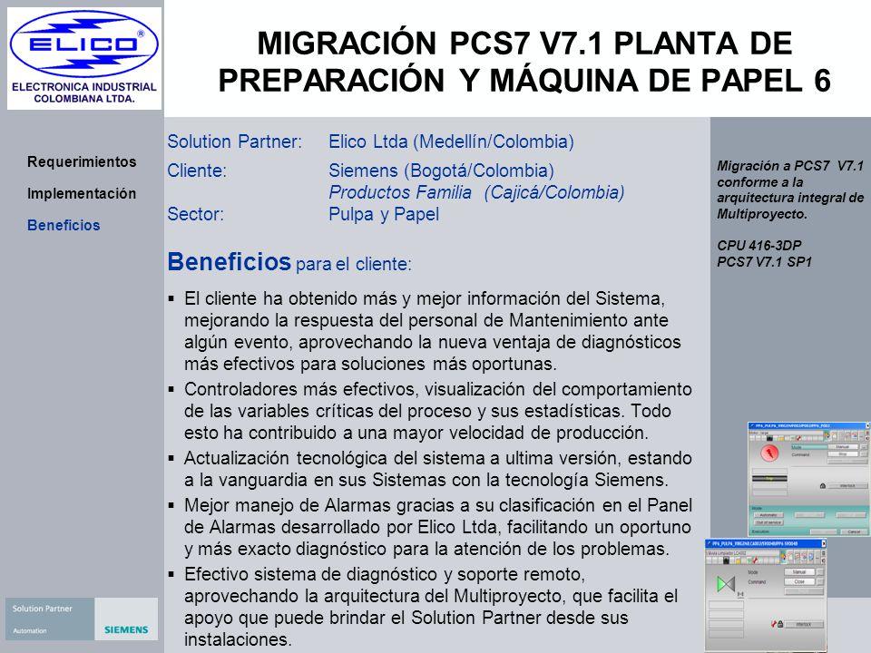 MIGRACIÓN PCS7 V7.1 PLANTA DE PREPARACIÓN Y MÁQUINA DE PAPEL 6 Requerimientos Implementación Beneficios Solution Partner:Elico Ltda (Medellín/Colombia