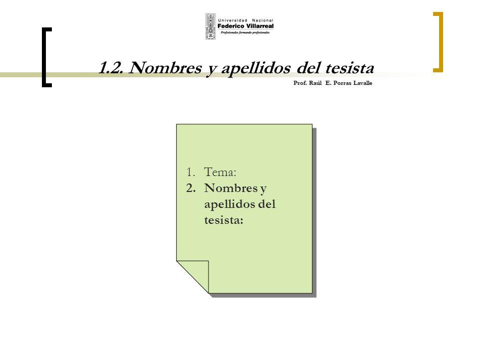 Prof. Raúl E. Porras Lavalle 1.2. Nombres y apellidos del tesista Prof. Raúl E. Porras Lavalle 1.Tema: 2.Nombres y apellidos del tesista: 1.Tema: 2.No