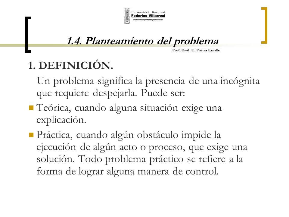 Prof. Raúl E. Porras Lavalle 1.4. Planteamiento del problema Prof. Raúl E. Porras Lavalle 1. DEFINICIÓN. Un problema significa la presencia de una inc