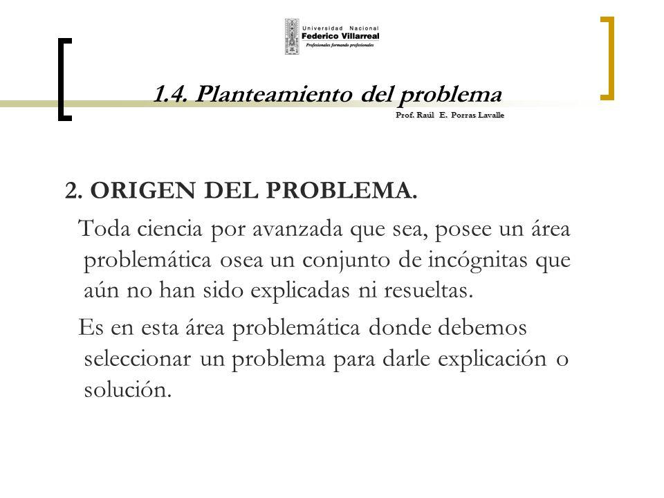 Prof. Raúl E. Porras Lavalle 1.4. Planteamiento del problema Prof. Raúl E. Porras Lavalle 2. ORIGEN DEL PROBLEMA. Toda ciencia por avanzada que sea, p