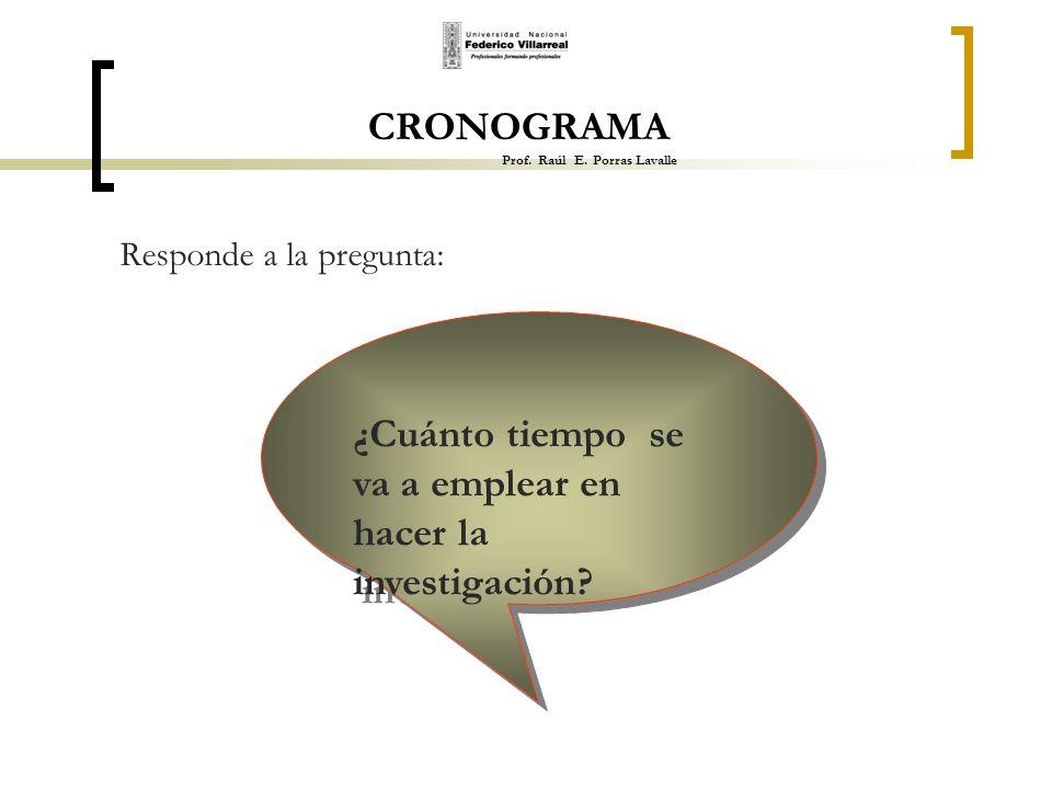 CRONOGRAMA Prof. Raúl E. Porras Lavalle Responde a la pregunta: ¿Cuánto tiempo se va a emplear en hacer la investigación?