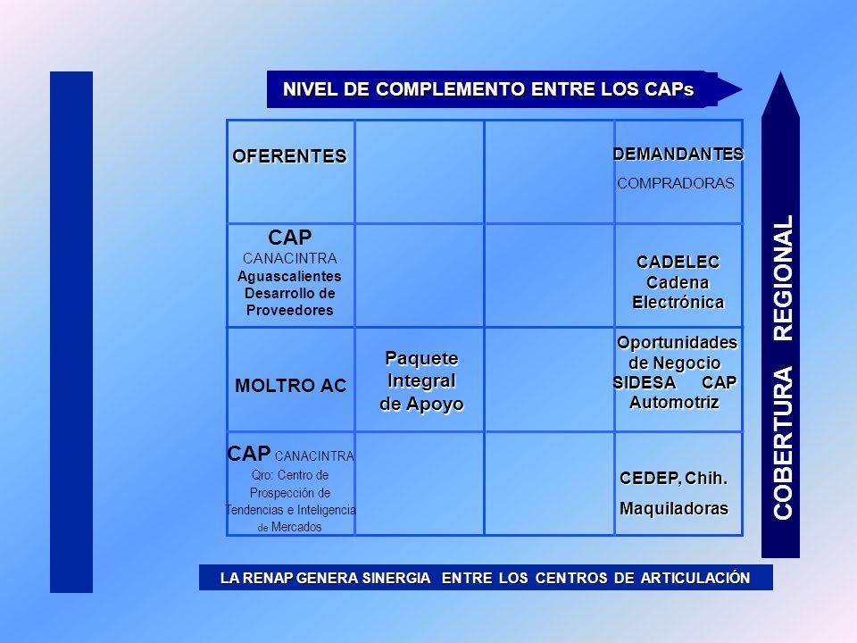 LA RENAP GENERA SINERGIA ENTRE LOS CENTROS DE ARTICULACIÓN COBERTURA REGIONAL NIVEL DE COMPLEMENTO ENTRE LOS CAPs OFERENTESDEMANDANTES COMPRADORAS MOL