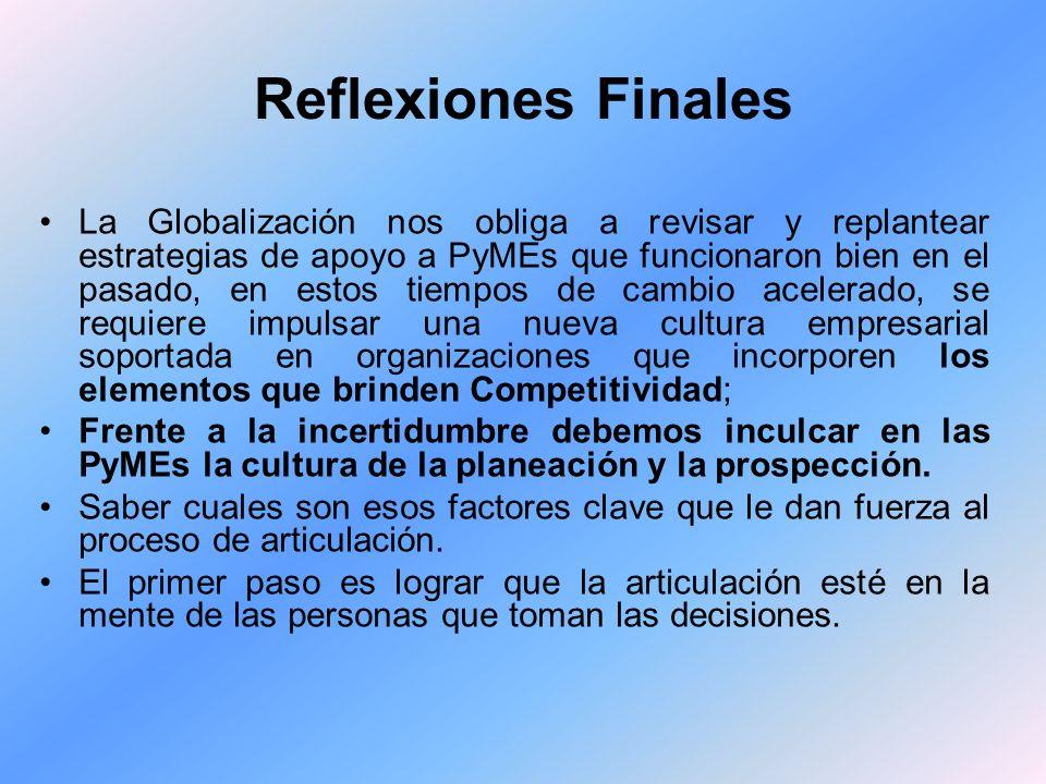 Reflexiones Finales La Globalización nos obliga a revisar y replantear estrategias de apoyo a PyMEs que funcionaron bien en el pasado, en estos tiempo