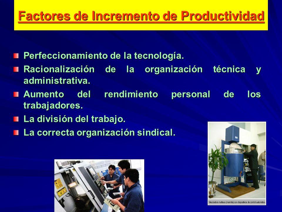 Perfeccionamiento de la tecnología. Racionalización de la organización técnica y administrativa. Aumento del rendimiento personal de los trabajadores.
