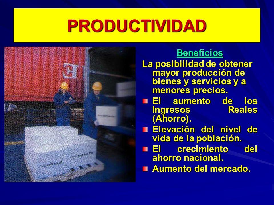 PRODUCTIVIDAD Beneficios La posibilidad de obtener mayor producción de bienes y servicios y a menores precios. El aumento de los Ingresos Reales (Ahor