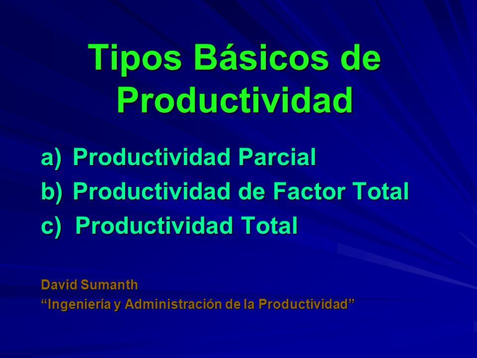 Tipos Básicos de Productividad a)Productividad Parcial b)Productividad de Factor Total c) Productividad Total David Sumanth Ingeniería y Administració