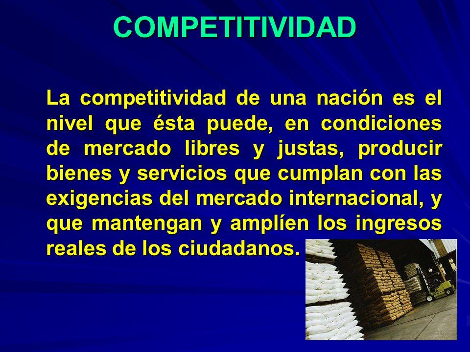 COMPETITIVIDAD La competitividad de una nación es el nivel que ésta puede, en condiciones de mercado libres y justas, producir bienes y servicios que
