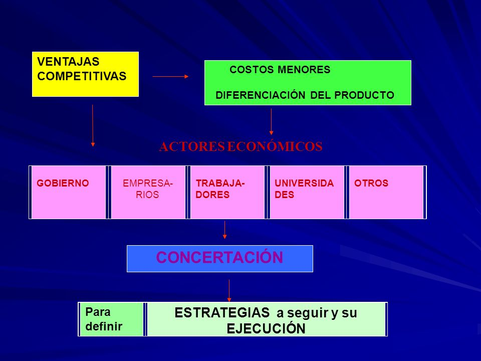 VENTAJAS COMPETITIVAS COSTOS MENORES DIFERENCIACIÓN DEL PRODUCTO CONCERTACIÓN ACTORES ECONÓMICOS GOBIERNO EMPRESA- RIOS TRABAJA- DORES UNIVERSIDA DES