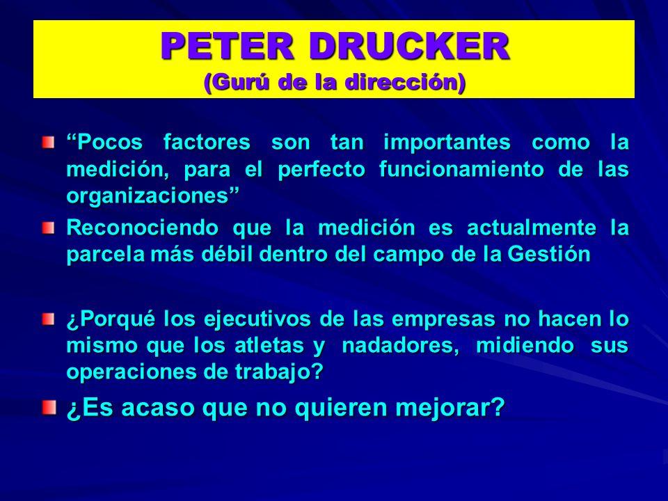 PETER DRUCKER (Gurú de la dirección) Pocos factores son tan importantes como la medición, para el perfecto funcionamiento de las organizaciones Recono