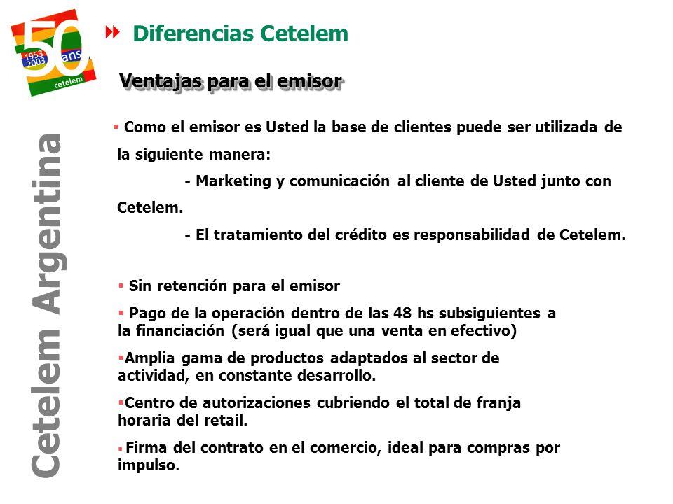 Diferencias Cetelem Como el emisor es Usted la base de clientes puede ser utilizada de la siguiente manera: - Marketing y comunicación al cliente de U