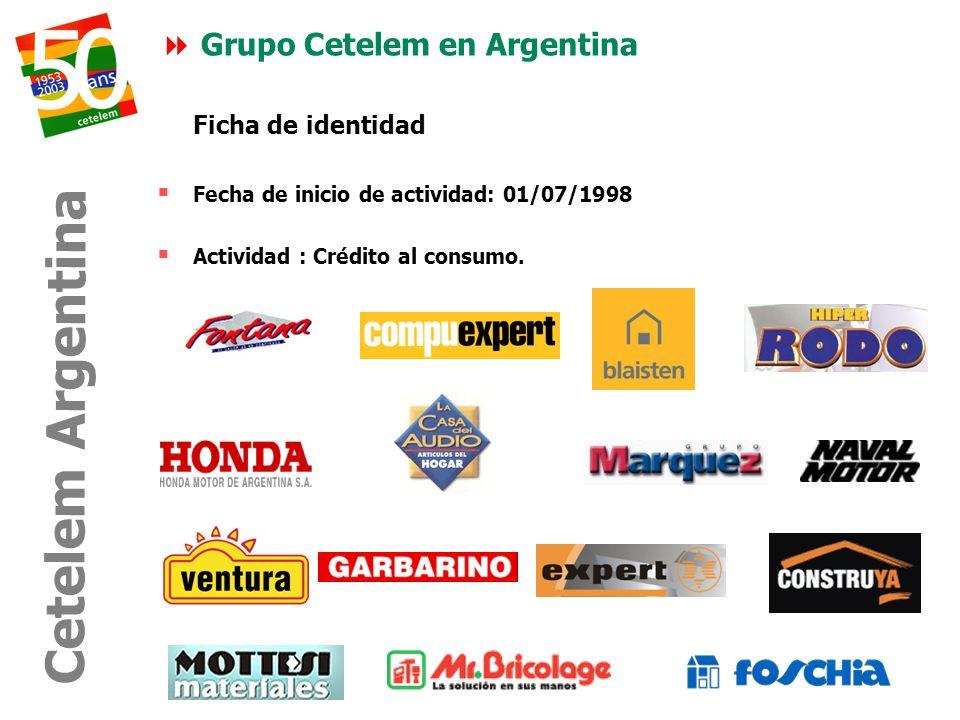 Ficha de identidad Fecha de inicio de actividad: 01/07/1998 Actividad : Crédito al consumo. Grupo Cetelem en Argentina Cetelem Argentina