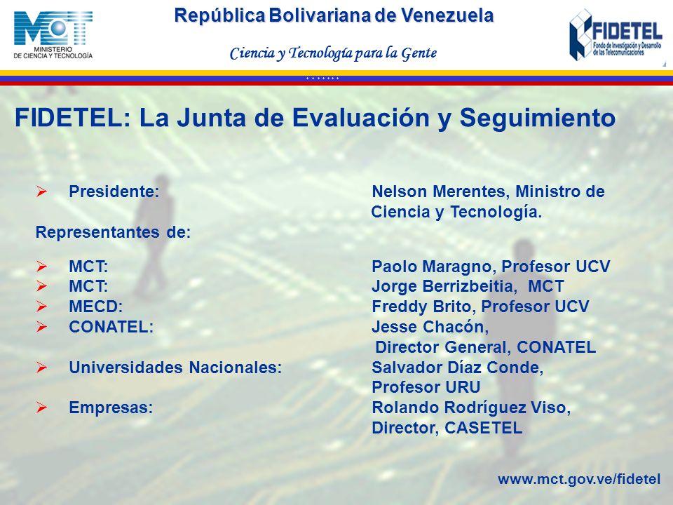 República Bolivariana de Venezuela Ciencia y Tecnología para la Gente * * * * * * * Presidente: Nelson Merentes, Ministro de Ciencia y Tecnología. Rep