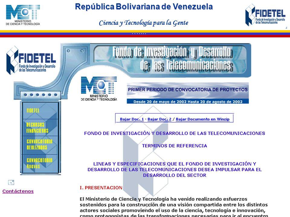 República Bolivariana de Venezuela Ciencia y Tecnología para la Gente * * * * * * *
