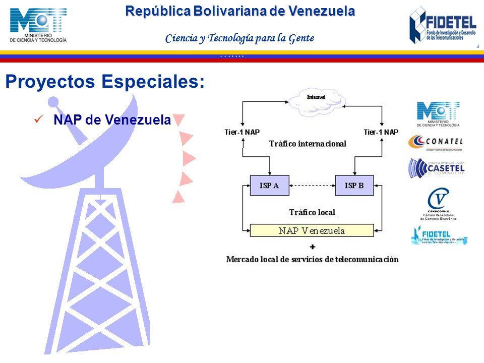 República Bolivariana de Venezuela Ciencia y Tecnología para la Gente * * * * * * * Proyectos Especiales: NAP de Venezuela