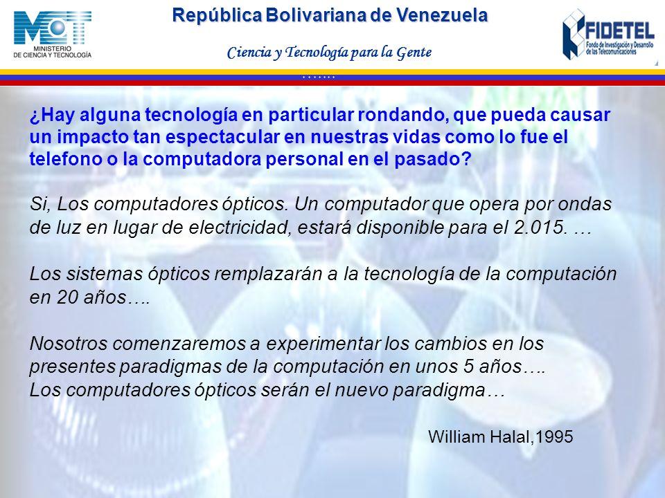 República Bolivariana de Venezuela Ciencia y Tecnología para la Gente * * * * * * * ¿Hay alguna tecnología en particular rondando, que pueda causar un