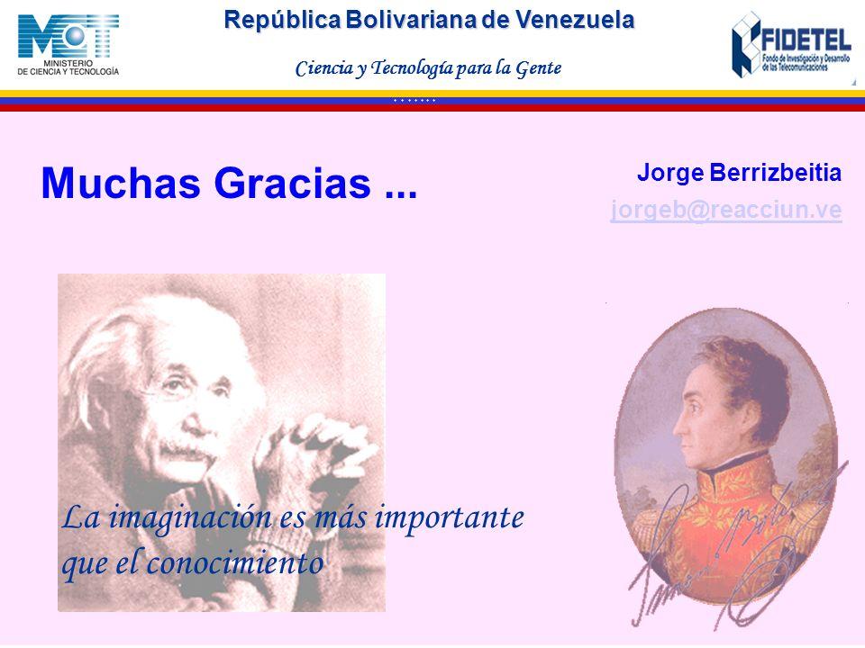 República Bolivariana de Venezuela Ciencia y Tecnología para la Gente * * * * * * * La imaginación es más importante que el conocimiento Jorge Berrizb