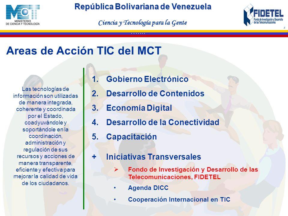 República Bolivariana de Venezuela Ciencia y Tecnología para la Gente * * * * * * * Areas de Acción TIC deI MCT 1.Gobierno Electrónico 2.Desarrollo de