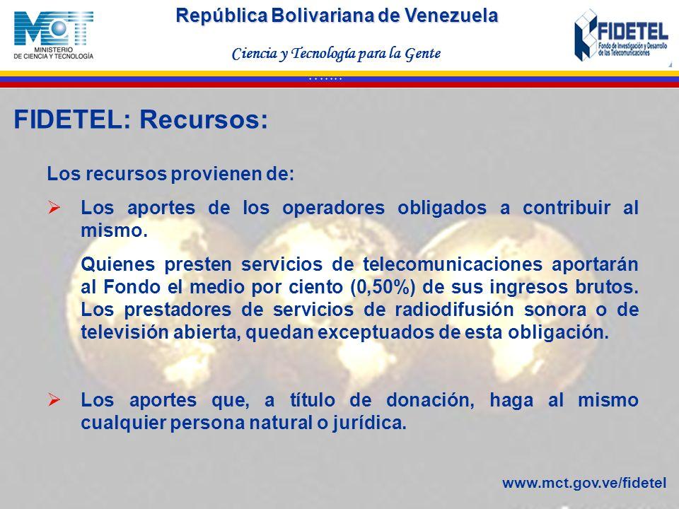 República Bolivariana de Venezuela Ciencia y Tecnología para la Gente * * * * * * * Los recursos provienen de: Los aportes de los operadores obligados