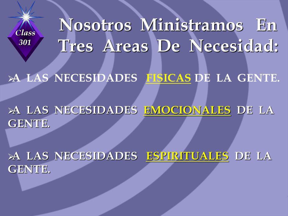 Class 301 Nosotros Ministramos En Tres Areas De Necesidad: A LAS NECESIDADES FISICAS DE LA GENTE. A LAS NECESIDADES EMOCIONALES DE LA GENTE. A LAS NEC