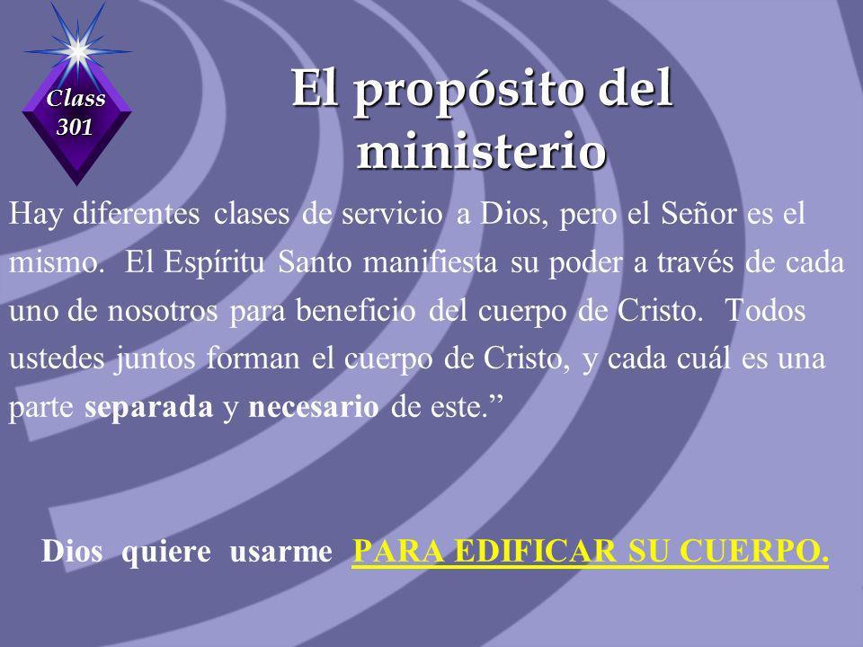 Class 301 El propósito del ministerio Hay diferentes clases de servicio a Dios, pero el Señor es el mismo. El Espíritu Santo manifiesta su poder a tra