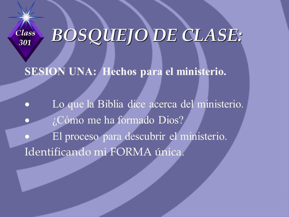 Class 301 BOSQUEJO DE CLASE: SESION UNA: Hechos para el ministerio. Lo que la Biblia dice acerca del ministerio. ¿Cómo me ha formado Dios? El proceso